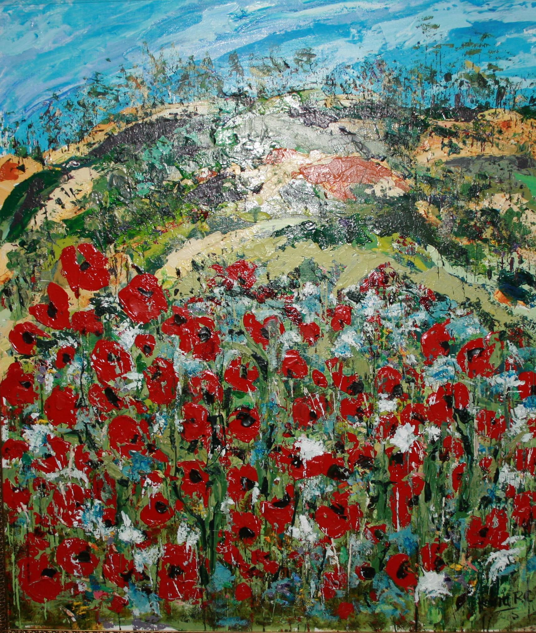 PFs003 'Poppies 2' 123x110 $3400